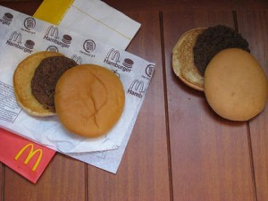 the burger on the left, 12yrs old, on the right, 'fresh'.  Still want to eat it?