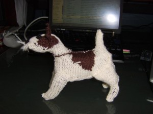Wirehaired fox terrier knitted