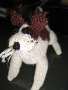 Wirehaired fox terrier knitted face