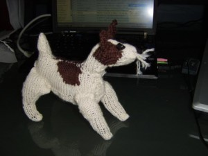 Wirehaired fox terrier knitted profile