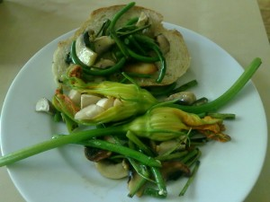 garlic scapes and stuffed zucchini flowers