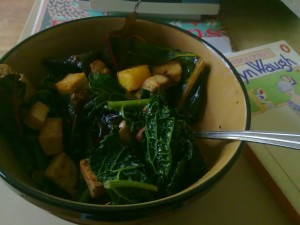 chard kale tofu pesto almond medley